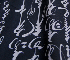 Mongolian Calligraphy - White on Black