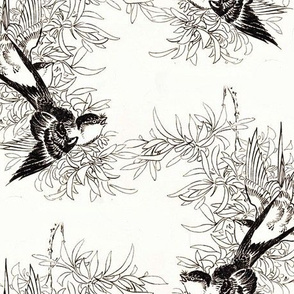 Swallows in Black and White