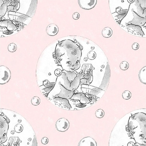 Baby Bathtime in Pink and White