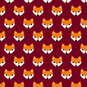 Colorful retro foxes fun kids illustration woodland theme maroon red orange