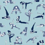 yoga sport blue handdrawn