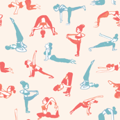 Yoga posed sporty girl in coral and aqua- soft pink