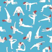 Yoga pose sporty girl in  aqua