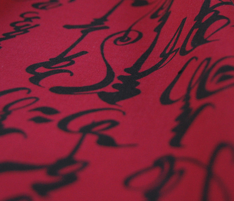 Mongolian Calligraphy - Red & Black