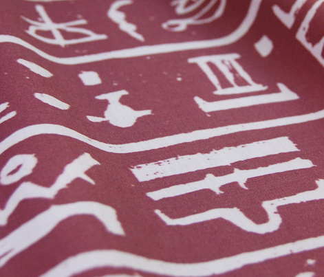 Egyptian Hieroglyph - Red & White