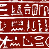 Egyptian Hieroglyph - Red & White