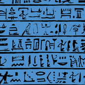 Egyptian Heiroglyphics on Blue - Small