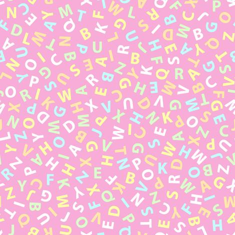 ditsy alphabet on pink