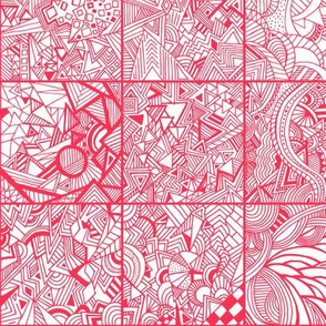 Zentangle Squares Red