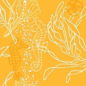 Bright Orangey Yellow Seahorse & Kelp Pattern