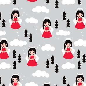 Sweet red winter ice queen christmas angels dreamy clouds illustration pattern for kids blue