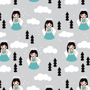 Sweet blue winter ice queen christmas angels dreamy clouds illustration pattern for kids blue