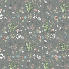 Ditsy woodland flowers - dark grey