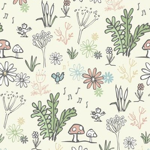 Ditsy woodland flowers - cream
