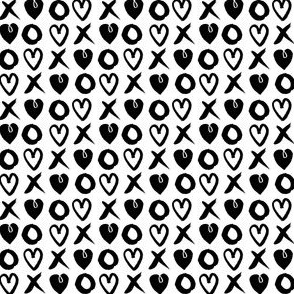 valentines xoxo // hearts xoxo black and white mini valentines print