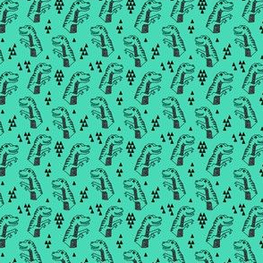 dinosaur // t-rex geometric triangle dino jurassic animal kids boy green dino