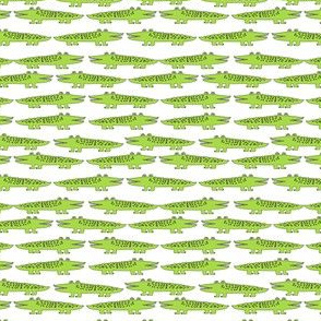 gator // lime green mini alligator crocodile florida print