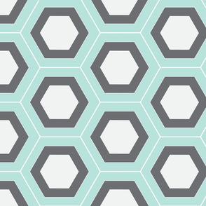 Layered Hexagons Seafoam Gray