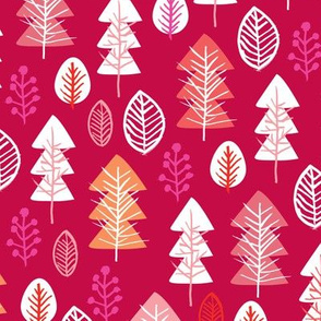 Colorful red and pink girls christmas holiday season december christmas tree woodland illustration print