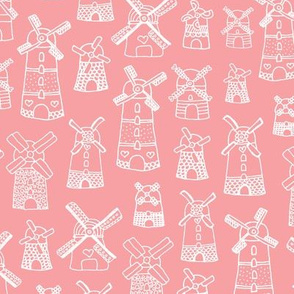 Fuchsia pink purple windmill illustration Holland travel pattern