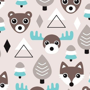 Geometric fox grizzly bear moose and wolf pine tree illustration winter woodland pattern soft beige and blue