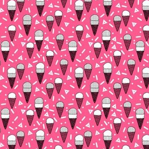 ice cream party // bright pink mini tropical summer ice cream food pattern illustraiton