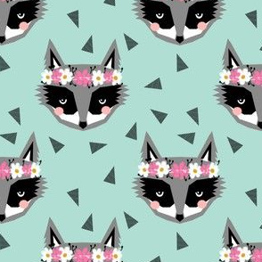 raccoon flowers spring girly mint and pink