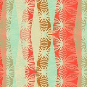Modern geometrics in coral and mint