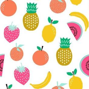 fruit summer tropical banana pineapple lemon cool kids summer print white background