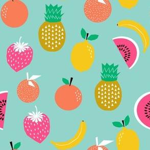 fruit summer mint strawberry pineapple bananas