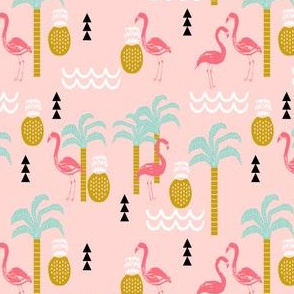 tropical pink flamingo beach summer palm tree mint and pink coral cute kids summer design