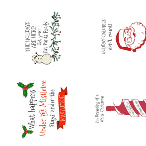 Funny Christmas Tea Towels 4 in One Yard