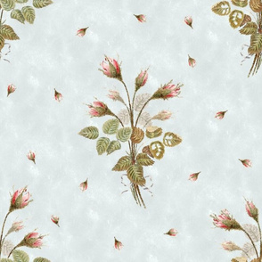 Vintage Roses Watercolor Over Pale Blue