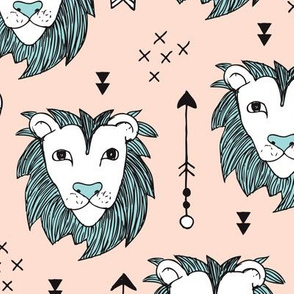 Cool scandinavian style lion and arrows safari animals kids illustration geometric pattern in beige and blue