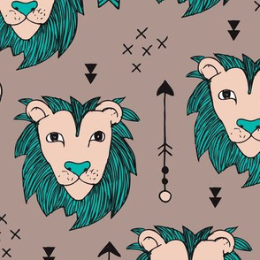 Cool scandinavian style african lion and arrows safari animals kids illustration geometric pattern in beige and blue