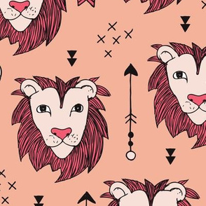 Cool scandinavian style lion and arrows safari animals kids illustration geometric pattern in coral and pink