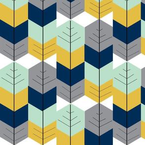 Feather Arrow Herringbone - Navy, Mustard, Grey Mint