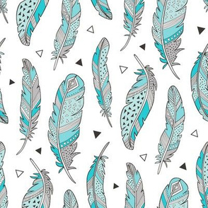 Feathers and triangles in Aqua Blue