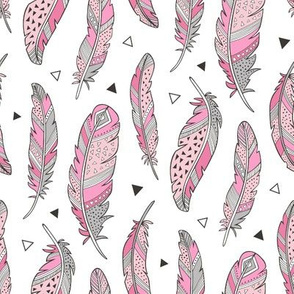 Feathers and triangles in Pink