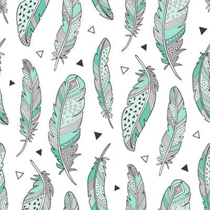 Feathers and triangles in Mint Green