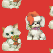 Vintage Christmas Puppy and Ktten