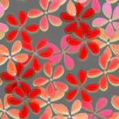 Five petal floral in red