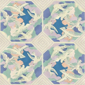 Vintage Bird Tiles Purple