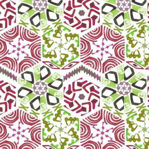 Snowflake Winter Cut Paper in Green and Red
