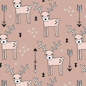 Cute winter reindeer christmas theme illustration with geometric arrows and triangles in beige