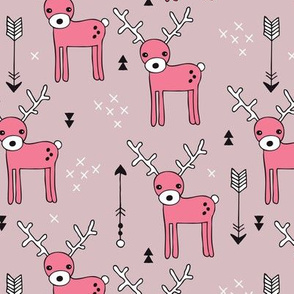 Cute winter reindeer christmas theme illustration with geometric arrows and triangles in pink