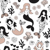 Sweet little mermaid girls theme with deep sea ocean coral illustration details in beige black and white