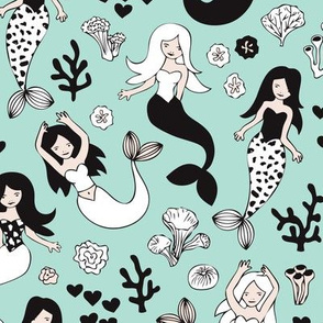 Sweet little mermaid girls theme with deep sea ocean coral illustration details in mint black and white
