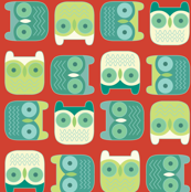 block owls christmas red