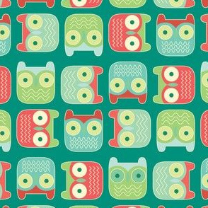 block owls christmas green
